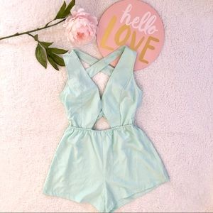 Tobi Mint Cut out Romper play suit